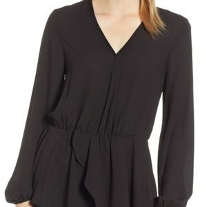 1.State Black Cross Front Peplum Blouse